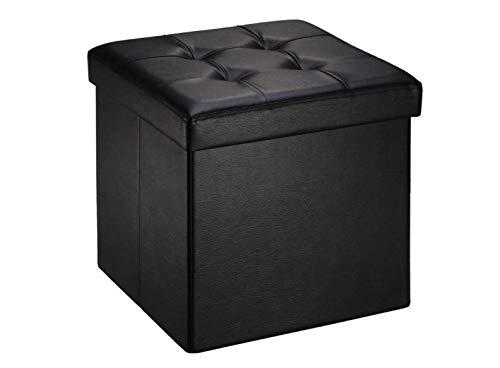 Pouf Cube Dé Pliable Coffre Cube Siège Boîte De Rangement 38 x 38 x38 Noir