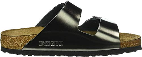 Birkenstock Damen Arizona Sfb Leather Pantoletten, Grau (Metallic Anthracite), 40 EU