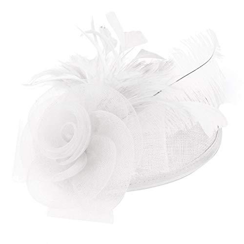 Lsaardth Chapeau de Plume de mariée - Chapeaux de Mariage de mariée élégant Chapeau de Plume d'autruche Chapeau d'église Femmes Décor de fête pour la fête de Mariage Filles Femmes(Blanc)