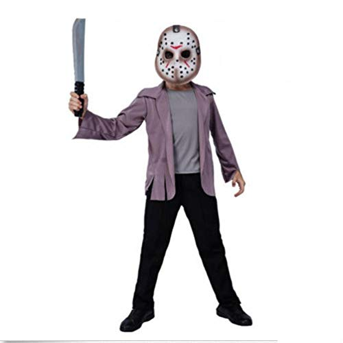Sllnkll Disfraz De Asesino De Jason Voorhees, Accesorio De PelíCula En Serie del Viernes 13,Cosplay De Terror,Disfraces De Fiesta De Halloween para NiñOs (Sin Cuchillos) S