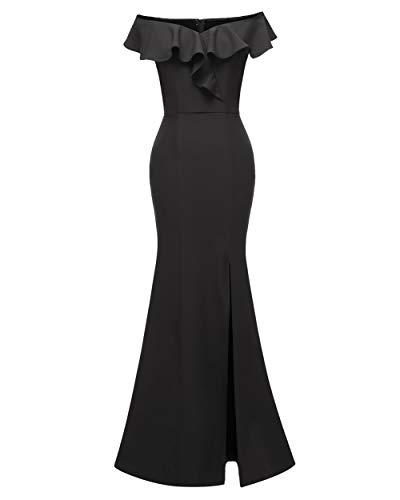 Chowsir Vestido feminino elegante de cetim longo, tomara que caia, dama de honra, coquetel, noite, formatura, 1683 preto, M