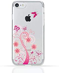 iPhone 8 Clear TPU Silicone Case With Pink Floral Swirl Design