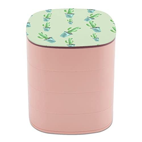 Rotar la caja de joyería Imprimir acuarela pintura planta cactus piedra diseño multicapa joyería organizador caja con espejo para mujeres niñas y niños