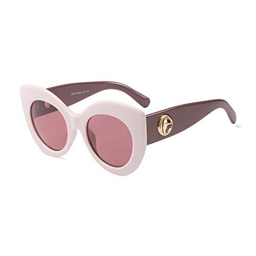Gafas de sol vintage ojo de gato para mujer, lentes de sol degradados, para hombre (lentes de color: C2, rosa y blanco)