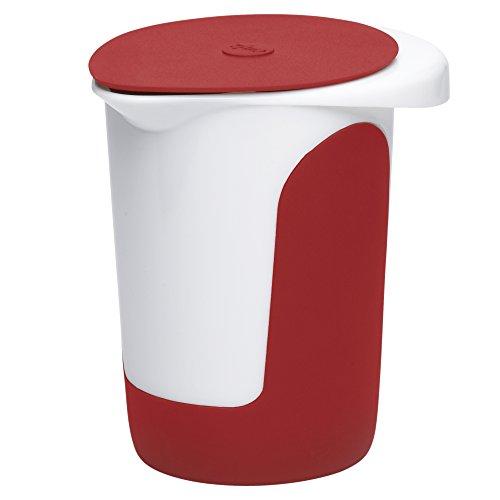 Emsa 508017 Quirltopf mit Deckel, 1 Liter, Abriebfeste Skala, Weiß/Rot, Mix & Bake