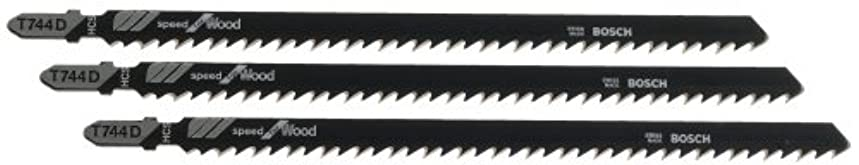 Bosch T744D3 3-Piece 6 In. 7 TPI Speed for Wood T-Shank Jig Saw Blades