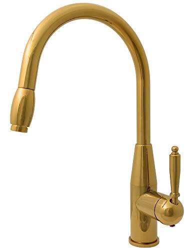 Küchen Spülbecken Einhebel Armatur Ausziehbarer Schlauch Drehbar Gold Sanlingo