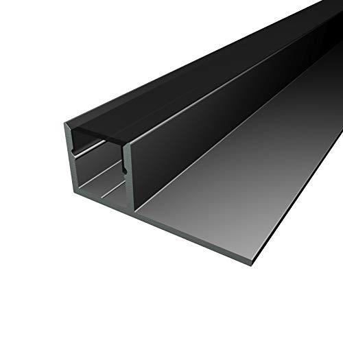 MOLA (MO-111) Fliesenprofil Aluminium 1 x 2m schwarz   Fliesen-Abschlussleiste für Led Streifen bis 1cm Breite   U-Profil Fliesenschiene + Acryl Abdeckung schwarz   Aluprofil belastbar