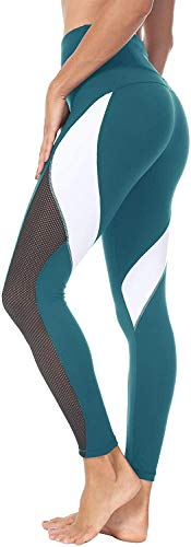 Alessioy Yoga De Mujer Polainas Paso Novena De Pantalones Color Los De Vida de la Moda Bloqueo De 25 Pulgadas con Malla Polainas Entrenamiento Mallas para Correr (Color : Blaugrün, One Size : L)