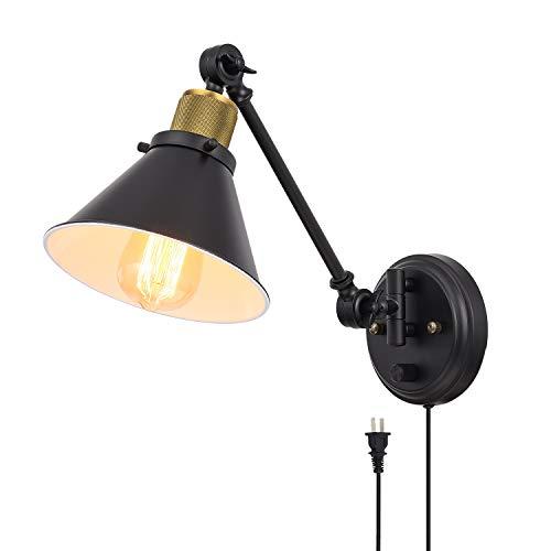 Lámpara de pared TRLIFE con enchufe, regulable, con interruptor, para montar en la pared, con enchufe de 1,8 m, base E26, certificación UL
