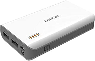6000mAh Portable Charger, ROMOSS Solo 3 Power Bank, Dual Output External Battery Packs Compact for iPhone, iPad, Samsung a...