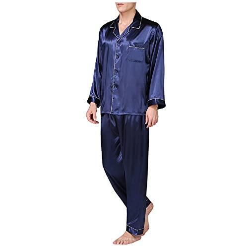 Briskorry Herren Schlafanzug Pyjama Set Satin Nachtwäsche Langen Ärmel Loungewear 3 Farben
