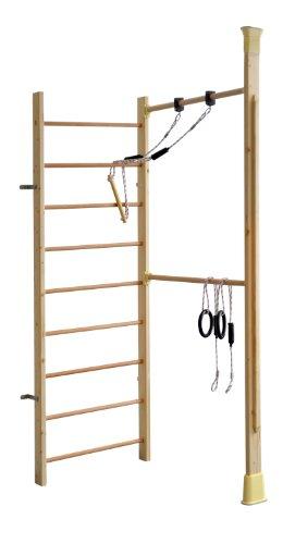 KletterDschungel Holz Sprossenwand Indoor Sportgerät mit Reck (240 x 83 cm mit 9 Sprossen + individuelle Stütze im Raum)