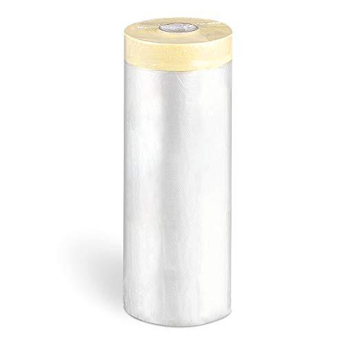 FUSIYU Plástico de Protección con Cinta Adhesiva 6 Pack 110cmx20m,Total 120M,Cubierta con Cinta Pintor,Rollo de Plástico con Cinta,Cinta para Pintar Grandes Áreas Papel de Enmascarar Cinta+Plástico