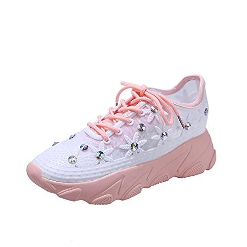 Beudylihy Zapatos de mujer de malla con plataforma y brillantes, zapatos de cuña, con cordones, color Rosa, talla 39 EU