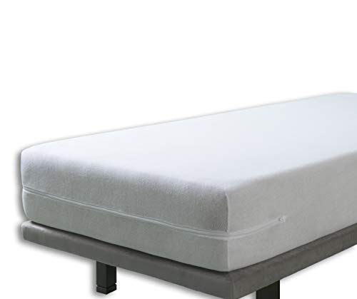 Velfont White Zipped Elastic Terry Towelling Fully Enclosed Mattress Cover/Mattress Encasement, King Bed Size (150x190/200cm)