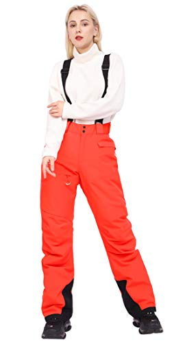 Women's Snow Ski Insulated Bib Pants Windproof Waterproof Breathable Pants with Detachable Suspenders for Snowboarding(Coral,S)