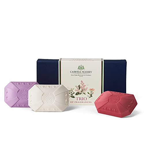 Caswell-Massey Floral Luxury Bath Soap Bar Set – Triple Milled Body Soap Lilac, Gardenia, Honeysuckle Bar Soap – 3.25 Ounces Each, 3 Bars