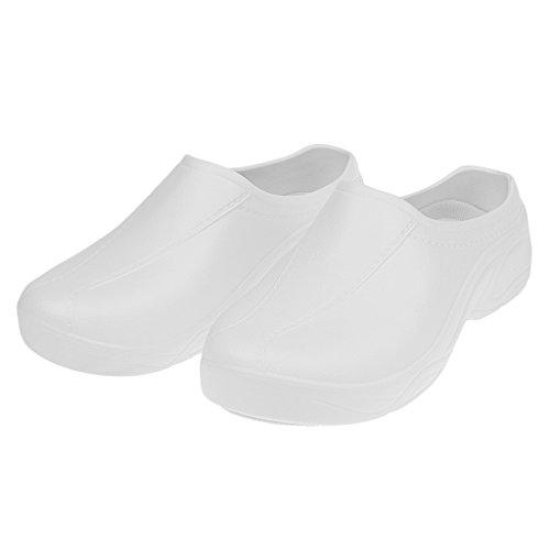 #N/A/a Hombres Mujeres Cocinero Enfermera Zapatos Ortopédicos Ultralite Zueco Sin Tirantes Antideslizante - Blanco, 41