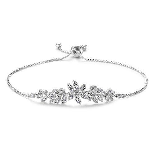 Armband Armreif Armkette Trendy Zirkonia Kristall Silber Farbe Verstellbares Armband Hochwertiger Schmuck Für Frauen Hochzeitsfeier Geschenke SIL