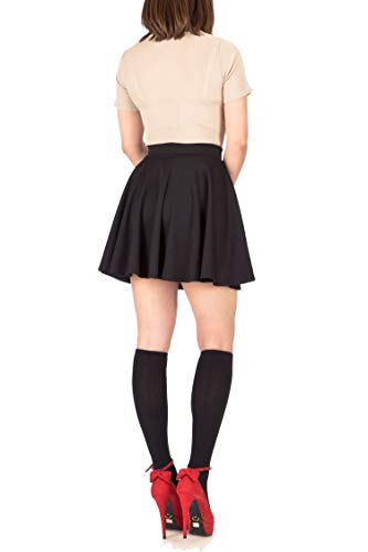 Pretty Fashion Women's Skater Skirt | Basic A-Line Stretchy Flared Mini Skater Skirt | Multiple Colours Plus Size 8-22 (Black, 20/22)