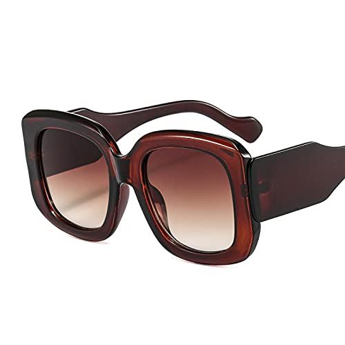 HAOMAO Gafas de sol cuadradas de gran tamaño con gradiente de espejo antirreflectante para mujeres y hombres grandes sombras Uv400 marrón
