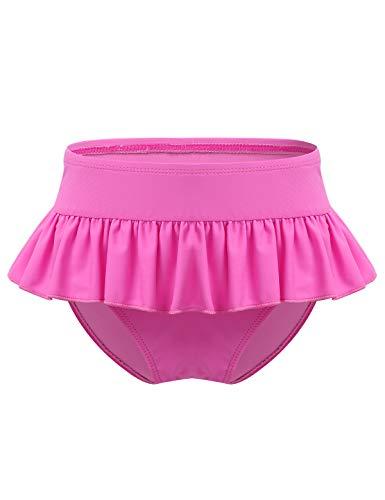 Freebily Kinder Mädchen Bikinihose Badehose Badeslip mit Rüschen Baderock Kleinkind Bademode Schwimmhose Windelhose Rosa 122-128
