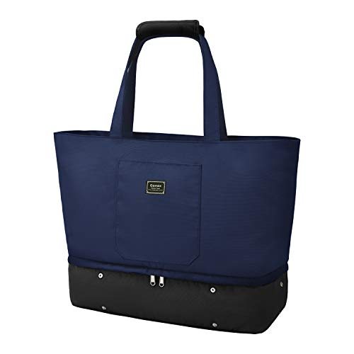 Gonex Large Tote Bag for Women, Carry On Totes with Shoes Compartment, Travel Shoulder Bag with Zipper for Nurses Shopping Gym, Blue & Black