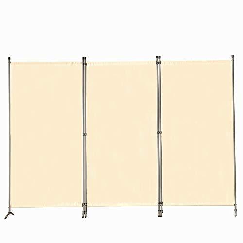 Angel Living Paravent 3tlg 250X170CM Sichtschutz Balkonbespannung Balkonsichtschutz Paravent Raumteiler Trennwand,Beige