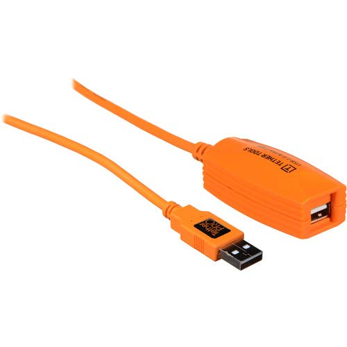 Tether Tools TetherPro 49' USB 2.0 Active Extension Cable, High-Visibility Orange