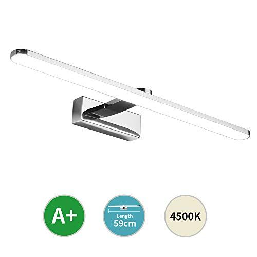 Klighten LED Spiegelleuchte 59cm, IP44 Wasserdichte Badlampe für Badzimmer und Spiegelschrank, Energiesparende Schrankleuchte 12W, 4000~4500K Neutralweiß