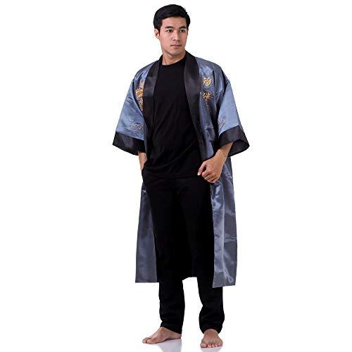 Japanischer Wende-Kimono Satin Morgenmantel für Damen & Herren mit Drachen-Stickerei Blaugrau