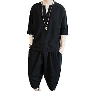 夏服 メンズ 部屋着 和風 服 Tシャツ 七分袖 麻 シャツ 半袖 トップス ハーフパンツ ショート パンツ 上下 Vネック 和式パーカー セット アップ 無地 柄 Black L