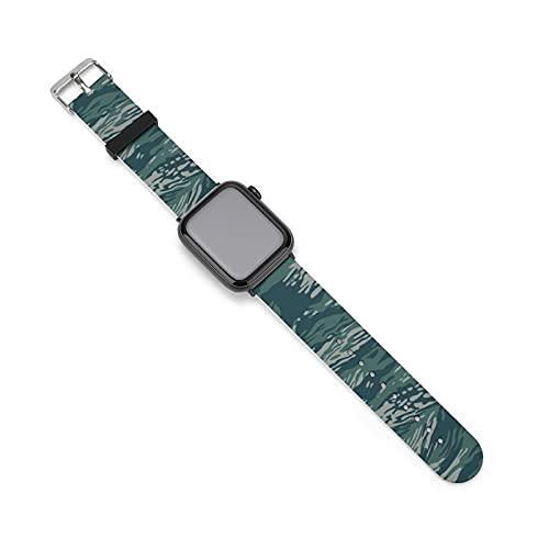 Correa de silicona verde de camuflaje para Apple Watch, adecuada para mujeres y parejas, longitud ajustable, 38mm/40mm,