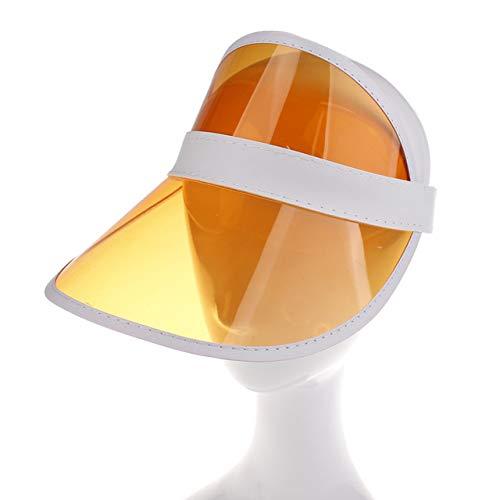 Sombrero de Sol de Verano para Mujer Unisex Color Caramelo Transparente Vacío Superior Plástico PVC Sombrilla Sombrero Visor Gorras Bicicleta Sombrero para el SolNaranja