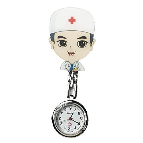BAIDEFENG Retráctil Enfermería Relojes,Reloj de Bolsillo de Cuarzo para Hombres y Mujeres, Reloj portátil médico-F,con Pin/Clip Reloj de Bolsillo Enfermera