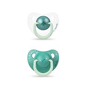 Suavinex - Pack 2 Chupetes Nocturnos para bebés 6-18 meses Con Anilla Luminiscente Tetina Anatómica de Silicona Brilla en la Oscuridad, Verde