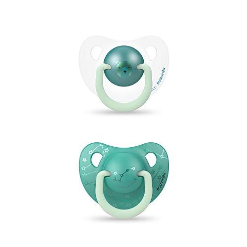 SUAVINEX 306811 - Pack 2 Chupetes Nocturnos para bebés 6-18 meses Con Anilla Luminiscente Tetina Anatómica de Silicona Brilla en la Oscuridad, Verde