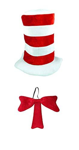 Unbranded Kinder Erwachsene Hoher Hut World Book Day Katze Thema Verrücktes Kleid Gestreifter Hut und Krawatte