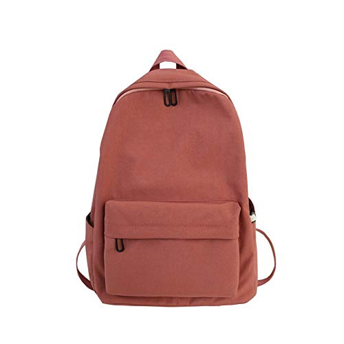 Mochila Mochila De Nylon Femenina Bolso De Hombro De Color Sólido para Adolescente Mochila Escolar Mochila De Mujer Paquete De Viaje Simple 30Cmx16Cmx40Cm Rojo