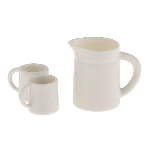 Perfeclan Set of 1:12 Scale Dollhouse Miniature Tea Water Mug Coffee Tea Cups Home Kitchen