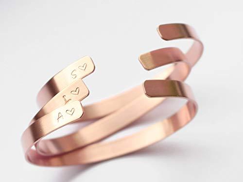 Manufaktur 3 Kupfer Armreifen Hochzeit JGA Junggesellinnenabschied Buchstabe Herz Brautjungfern Gastgeschenke personalisiert