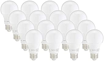 AmazonBasics 60W Equivalent, Soft White, Dimmable, 10,000 Hour Lifetime, A19 LED Light Bulb | 16-Pack
