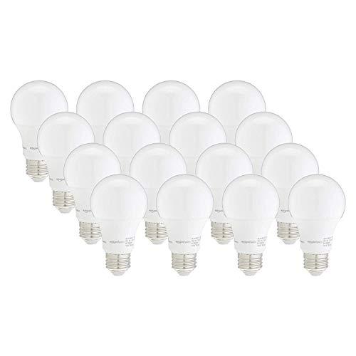 AmazonBasics 60W Equivalent, Soft White, Dimmable, 10,000 Hour Lifetime, A19 LED Light Bulb | 16-Pack