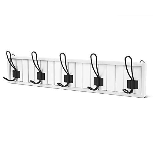 BirdRock Home Dual Hook Coat and Hat Rack - 6 Dual Hooks - 27 Inches - Wall Mount - Decorative Home Storage - Entryway Foyer Hallway Bathroom Bedroom Rail - White Pine Finish - Satin Nickel Hooks
