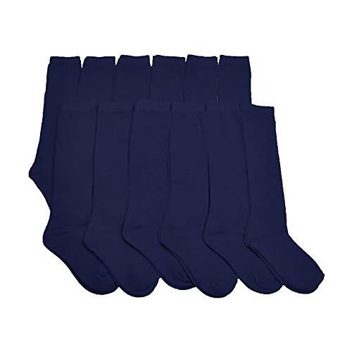 Calcetines Escolares Algodón/Largo Hasta Rodillas Para Uniformes y Sport(Azul Marino, 5-7 Y/Pack 6)