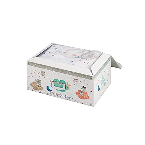Interbaby - Set Baúl y Coordinado 2 piezas Funda Nórdica Elefante Para Cuna, Blanco y Azul, B92214-01