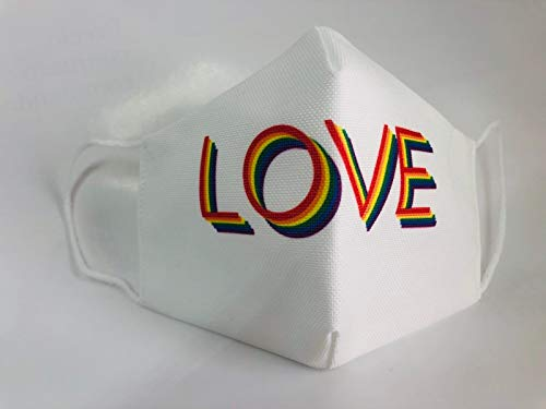 Mascarilla reutilizable love blanca lgtb orgullo gay original elegante...
