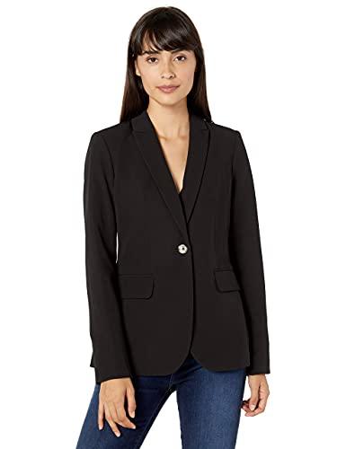 Tommy Hilfiger Women's One Button Blazer, Deep Black, 8