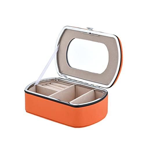 PYAIXF Mujer Organizador, Joyero para Mujer Caja De Almacenamiento De Joyería De PU De 6 Ranuras Espejo De Maquillaje Incorporado Botón De Metal para Reloj Pendientes-Orange  14x8.5x5cm